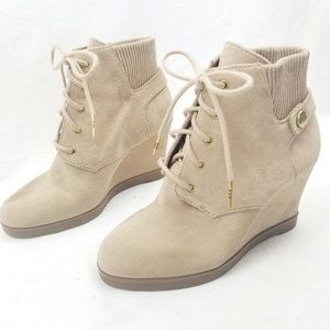 Michael Kors Lace Up Wedge Sneakers Suede